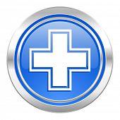pharmacy icon, blue button