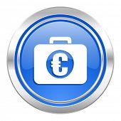 financial icon, blue button