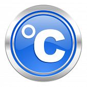 celsius icon, blue button, temperature unit sign