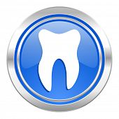tooth icon, blue button