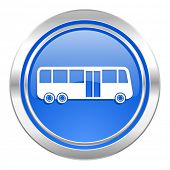 bus icon, blue button, public transport sign