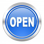 open icon, blue button