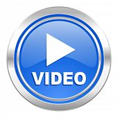 video icon, blue button