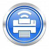 printer icon, blue button, wireless print sign