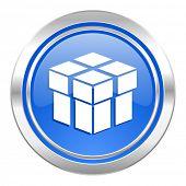 box icon, blue button