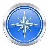 compass icon, blue button