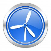 windmill icon, blue button, renewable energy sign