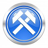 mining icon, blue button