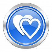 love icon, blue button, valentine sign, hearts symbol
