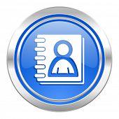 address book icon, blue button