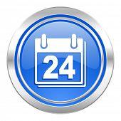 calendar icon, blue button, organizer sign, agenda symbol