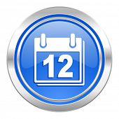 calendar icon, blue button, organizer sign, agenda symbol