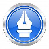 pen icon, blue button