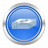 money icon, blue button, cash symbol
