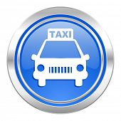 taxi icon, blue button