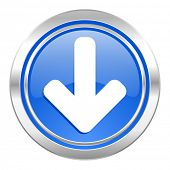 download arrow icon, blue button, arrow sign