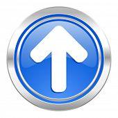 up arrow icon, blue button, arrow sign