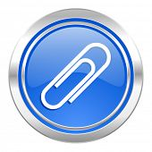 paperclip icon, blue button