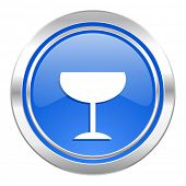 alcohol  icon, blue button, glass sign