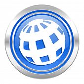 earth icon, blue button