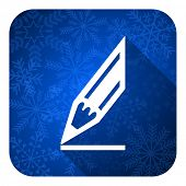 pencil flat icon, christmas button, draw sign