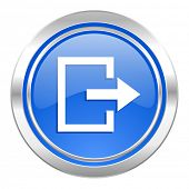 exit icon, blue button