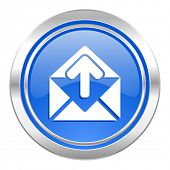 email icon, blue button, post message sign