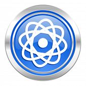 atom icon, blue button
