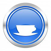 espresso icon, blue button, caffe cup sign