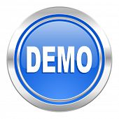 demo icon, blue button