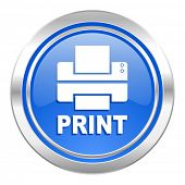 printer icon, blue button, print sign