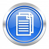 document icon, blue button, pages sign