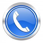 phone icon, blue button, telephone sign