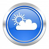 cloud icon, blue button, waether forecast sign