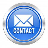 email icon, blue button, contact sign