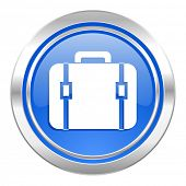 bag icon, blue button, luggage sign