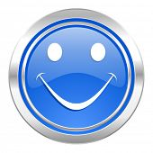smile icon, blue button