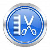 barber icon, blue button