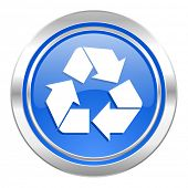 recycle icon, blue button, recycling sign