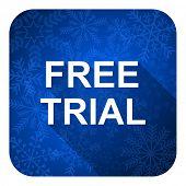 free trial flat icon, christmas button