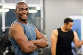 healthy young african american man standing in gym