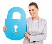 happy businesswoman with large padlock symbol isolated on white