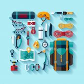 Climbing equipment. Flat design.