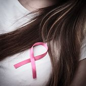 Woman Chest With Pink Cancer Ribbon