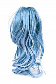 Wig Of Long Blue Hair Isolated On White