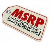 MSRP acronym or abbreviation on a store price stag to illustrate a product whose cost is the manufacturer's suggested retail price