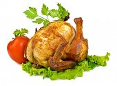 whole grilled chicken  with vegetables