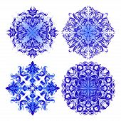 Vector Set Of Blue Pattern