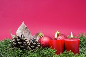 Christmas Composition - Lighted Red Candles