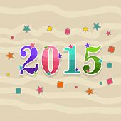Colorful poster for New Year 2015 with stars on stylish background.